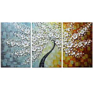 3 Piece Wall Decor White Flower Wealth Tree Paintings Decor Home Wall