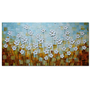 White Petals Light Green and Brown Textured 3D Wall Art Decor