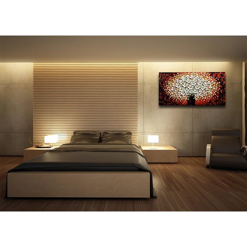 White Petals Dark Red Texture Flower Tree Bedroom Wall Pictures