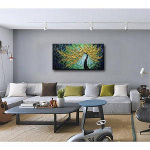 Gold Petals Dark Green Texture Large Wall Painting for Living Room