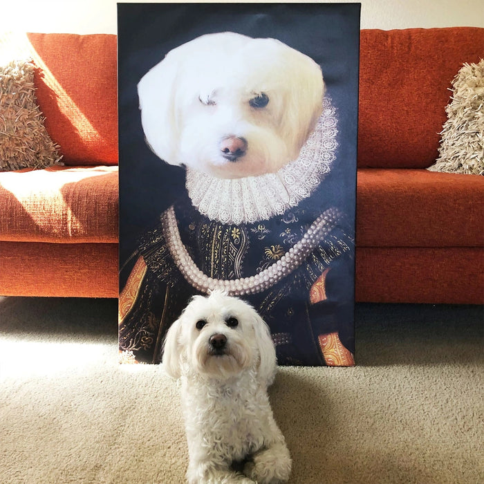 Queen Custom Pet Canvas with Framed Ready to Hang
