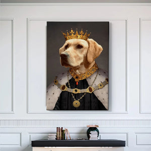 Crowned King Custom Pet Canvas with Framed Ready to Hang