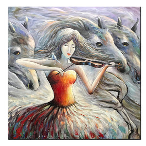 Violin Girl Oil Paintings Red Gray Modern Abstract Horse Artwork