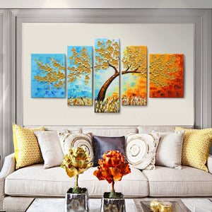 Large Canvas Painting Five Pieces Gold Flower Tree Hand Painted Knife Painting