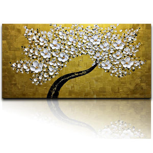 White Petals Black Trunk Gold Texture Kitchen Canvas Wall Art
