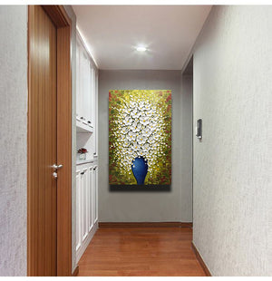 Canvas Art Paintings White Flower Petals Blue Vase Clearly Texture