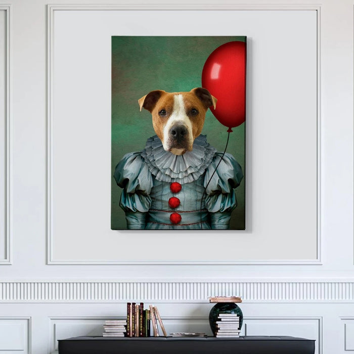 The Clown Custom Pet Canvas with Framed Ready to Hang