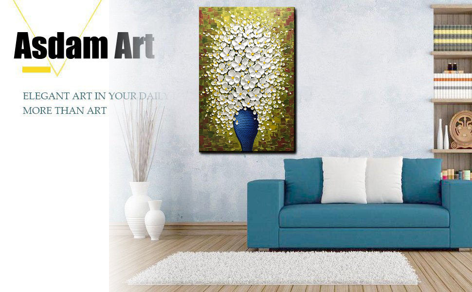 Handmade Original 3D White Flower in Blue Vase Vertical Oil Paintings