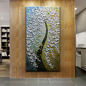 AsdamArt Handpainted oil paintings Modern White Abstract Floral Paintings