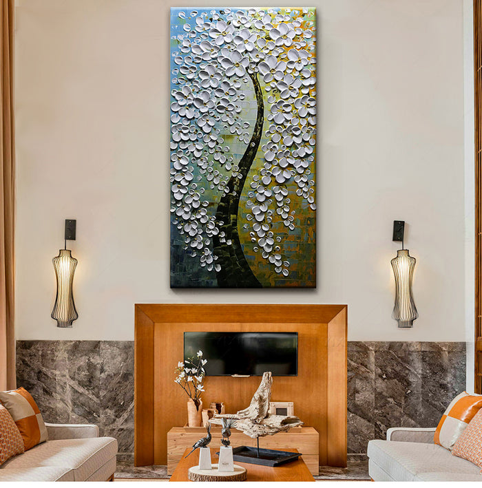 Abstract Flower Tree Oil Painting White Petals Black Trunks for Hallway