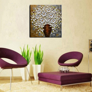 Oil painting Home Decoration Square White Flower with Vase Free Shipping