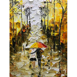 Abstract Wall Paintings Rainy Lovers Walking in Fall Street