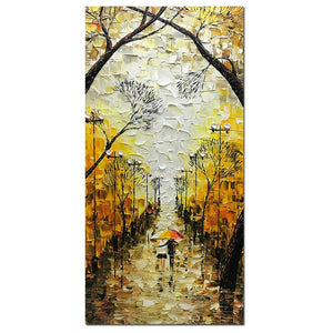 Wall Painting Lovers carry Umbrella Walking in Fall Street