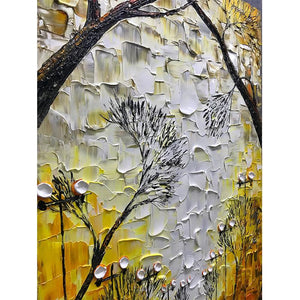 Light Yellow Background Fall Street Modern Wall Painting Decor Hallway
