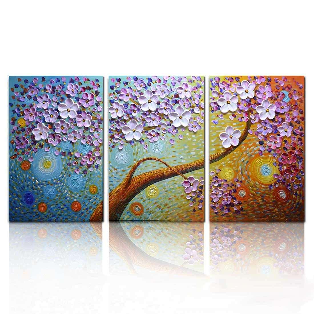 Asdamart handpainted oil paintings floral bedroom decor 3d paintings horizontal wall artholiday promotion