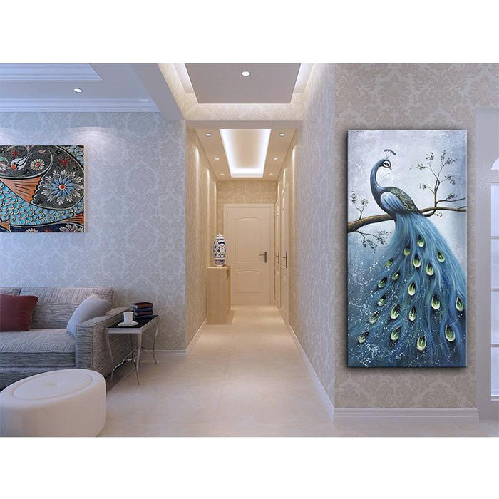 Elegant Peacock Canvas High Class Blue Stays on Tree Branch