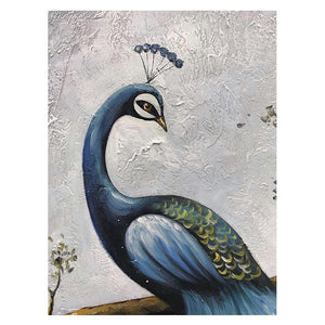Emerald Drop Feather Smoky Blue Peacock Canvas Art for Hallway
