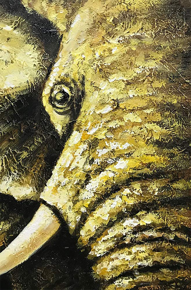 Asdamart Handpainted Oil Paintings Canvas Wall Art Elephant Oil Painting 3d Hand Painted Hot Item