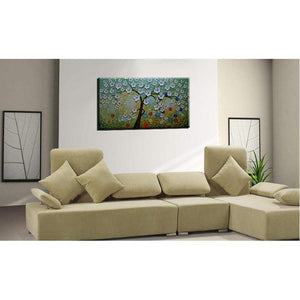 White Flower Tree Starry Night Background Contemporary Wall Paintings