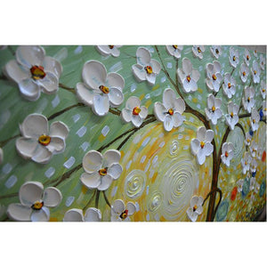 Large Wall Paintings White Petals Brown Trunk Green Background