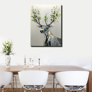 AsdamArt Handpainted oil paintings Deer Wall Decorations 3D Canvas painting