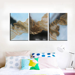 Abstract 3 Piece Canvas Art Irregular Gold Line Decor Living Room