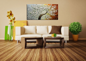 Abstract Flower Art White Thick Oil Petals Hand Painted Canvas Painting