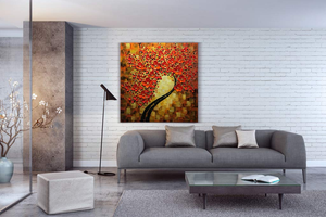 Abstract Flower Oil Painting Red Petal Clearly Textured Gift to Parent