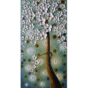 White Petals Brown Trunk Starry Night Abstract Flower Paintings