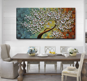 Palette Knife Paintings White Flower Tree Wall Canvas Art for Bedroom