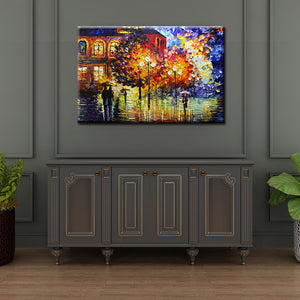 Colorful Abstract Acrylic Art Walking Outside the Church Canvas Art