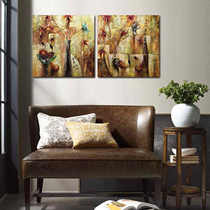 Acrylic Artwork Abstract Handmade Painting Two Square Panels Decor Living Room
