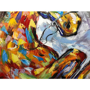 Multi-color Running Horse Palette Knife Hand Painted Animal Artwork