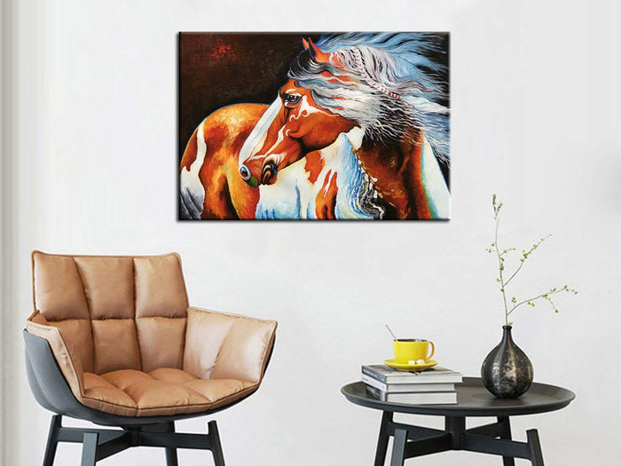 Horse Animal Paintings Orange and White Body Canvas Art Decor Home