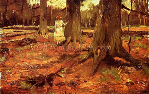 Art Deco Paintings Vincent Van Gogh A Girl in White in the Woods