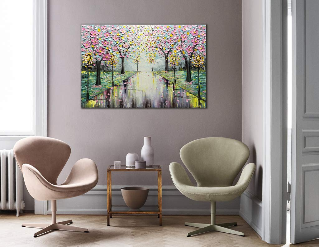 Abstract Art for Sales Cherry Blossom Tree on Street Unframed
