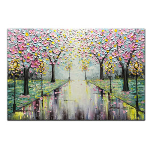 Asbtract Art for Sales Cherry Blossom Tree on Street Unframed