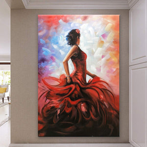 Vertical Canvas Art Painting Flamenco Lady Dancer Decor Living Room Hand Painted Acrylic Art
