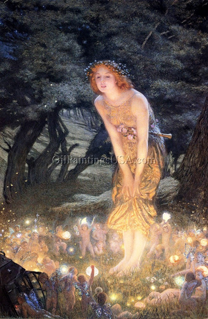 Famous Artwork Edward Robert Hughes R.W.S. Midsummer Eve