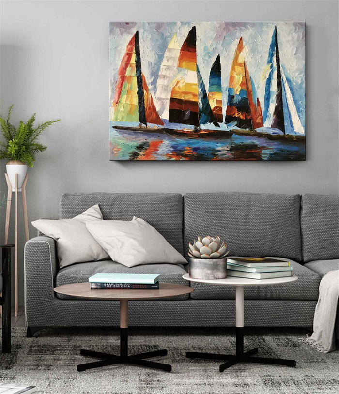 Oil Paintings for Sale by Artist Colorful Sailing Boat Touch Texture Unframed Wall Art