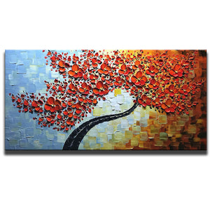 Canvas Oil Paintings Red Petals Black Trunk Clearly Texture Background