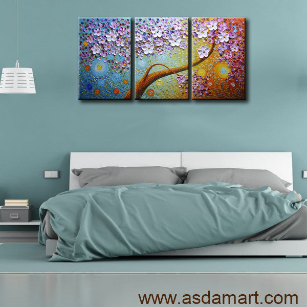 AsdamArt Handpainted oil paintings floral bedroom decor 3D paintings Horizontal Wall Art(Holiday promotion)