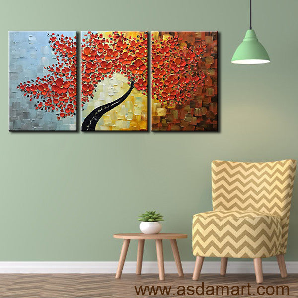 Handpainted Orange Red Tree Wall Floral Acrylic Knife Oil Paintings