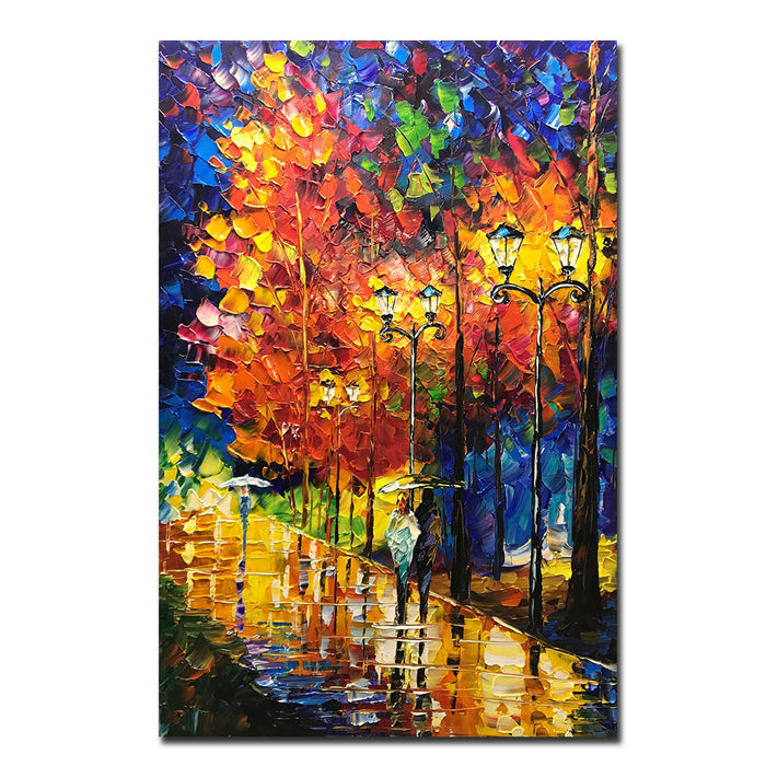 Autumn Painting Lover Stroll with Umbrella on Silent Street Canvas Art