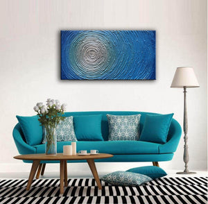 Extra Large Artwork Blue to White Circle Canvas Painting Gift Housewarming