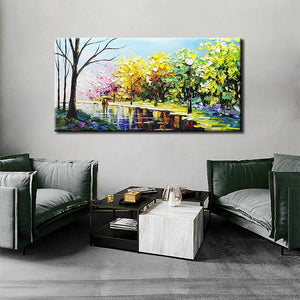 100% Hand Painted Lovers Walk in Boulevard Bedroom Wall Art Paintings