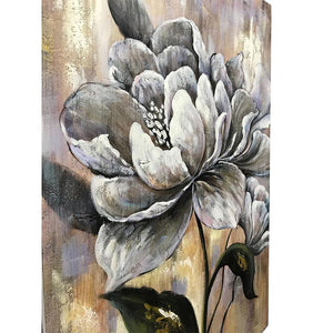 Large Grayish White Flower Rustic Background Bedroom Wall Canvas