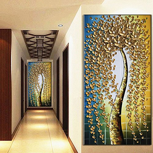 Modern Painting Ideas Vertical Gold Down Fall Flower Tree Canvas Art