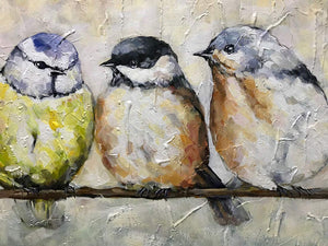 Hand Painted Canvas Five Fat Birds Rest on Branch Talk with Each Other