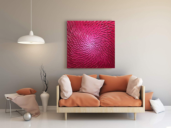 Local Art for Sale Square Pink Abstract Oil Painting Decor Blank Wall